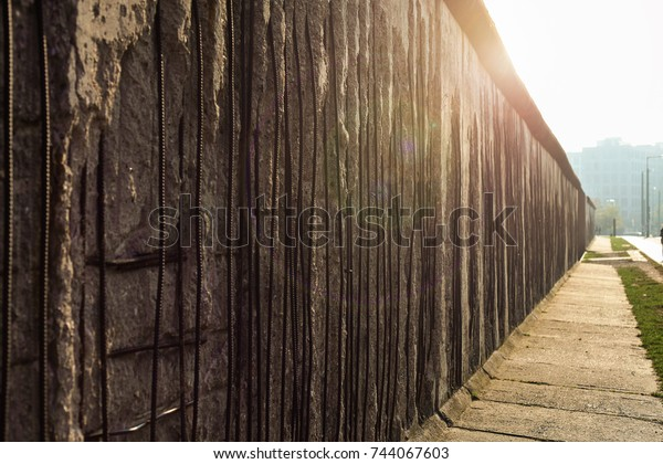 Berlin Wall Sun Flare Wall Divided Stock Photo (Edit Now