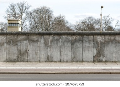 Berlin wall and watchtower