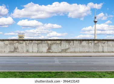 Berlin Wall with watchtower and TV Tower
