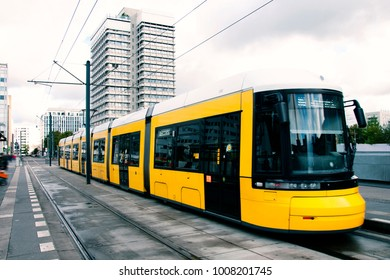 Berlin yellow subway (U-Bahn) at Alexanderplatz
