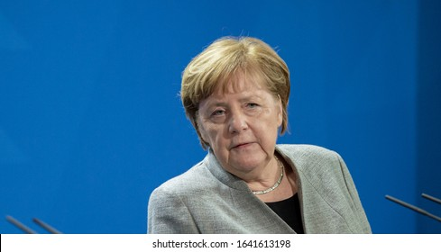 Berlin-2020-02-10: Chancellor Angela Merkel answers questions at the press conference in the German Chancellery