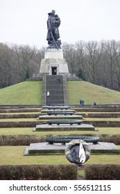 Berlin,Bundesrepublik Deutschland- December 29,2016: Memorial complex of the Soviet Liberator Soldier in Treptow Park.Customers visiting the monument