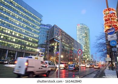 BERLIN,-DECEMBER 7:Berlin shines in a festive blaze of lights in the period before Christmas on December 7, 2012. Potsdamer Platz at night , Eichhorn street  in Berlin, Germany