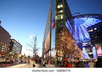 BERLIN,-DECEMBER 7:Berlin shines in a festive blaze of lights in the period before Christmas on December 7, 2012 in Sony center, Postdamer Platz,Berlin, Germany.