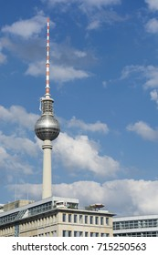 Berliner Fernsehturm (tv tower) with cloudy sky background. Germany