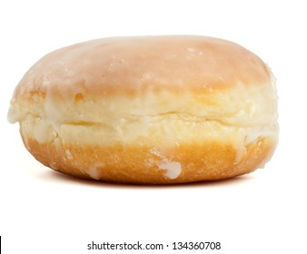 Berliner pancake from Germany, sweet pantries with sugar coating and jam filling. Isolated on white background.