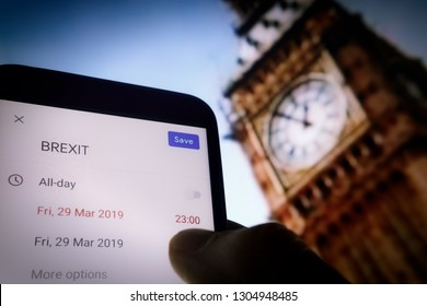 "Berlin,Germany 02/04/2019 ""BREXIT"" date schedule calendar at (23:00 GMT)  concept due to Great Britain possibly leaving the EU illustration. Save the date conceptual. Big Ben Tower smartphone option"