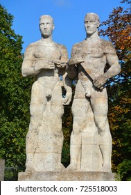 BERLIN-GERMANY 09 23 17: Berlin's Olympia Stadium sculptures of athletes built for the 1936 Berlin Olympics by Sculptor Karl Abiker