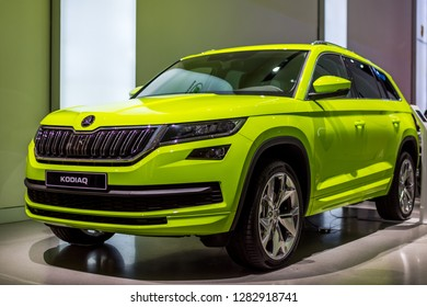 Berlin,Germany, 13 January 2019 - SKODA KODIAQ CAR IN GREEN COLOR - VW DRIVE Exhibition - NEW SKODA DESIGN - Picture