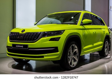 Berlin,Germany, 13 January 2019 - SKODA KODIAQ CAR IN GREEN COLOR - VW DRIVE Exhibition - NEW SKODA DESIGN - Picture