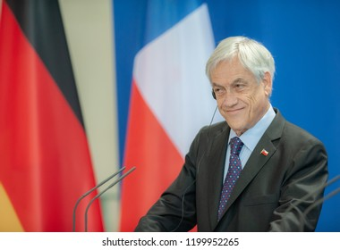 Berlin,Germany, 2018-10-10: The President of Chile, Sebastian Pinero, speaks to journalists at the press conference at the German Chancellery in Berlin