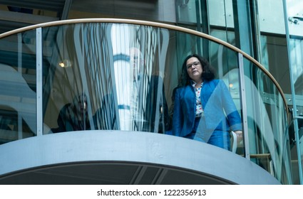 Berlin,Germany, 2018-11-05: The Chairwoman of the SPD, Andrea Nahles, arrives at the press conference at the party headquarter in Berlin
