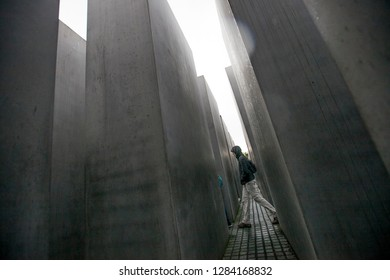 Berlin/Germany April 19, 2016 Holocaust Mahnmal,or Memorial to the Murdered Jews