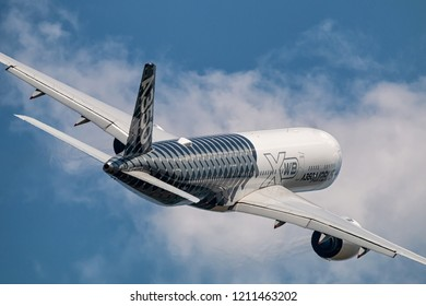 BERLIN,GERMANY- APRIL 28: Airbus A350-900 XWB demonstrator after take off from Berlin Airport on June 28,2018.