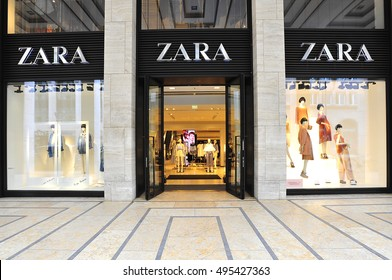 BERLIN,GERMANY - APRIL 28: ZARA fashion store  on April 28,2016 in Berlin,Germany. Zara is an Spanish clothing and accessories retailer.