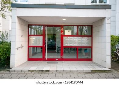 Berlin/Germany April 9, 2016 Block corridor/utilitarian architecture socialist block of flats