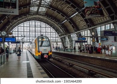 Berlin/Germany- July 30, 2019 Double-decker train ODEG Ostdeutsche Eisenbahn (East German Railway, or ODEG for short) at the Alexanderplatz railway station.