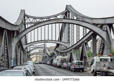 Berlin/Germany- July 31, 2019 A beautiful old steel truss bridge with many rivets. Known in Berlin as the Million Bridge because its construction cost about one million marks at a time.