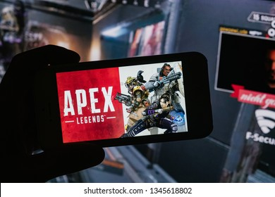 BERLIN/GERMANY - March 2019: Apex Legends logo is displayed on mobile phone or smartphone depicting mobile gaming