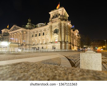Berlin/Germany - March 31st, 2017: Reichstag building by night. The Reichstag building is a historical edifice  constructed to house the Imperial Diet of the German Empire.