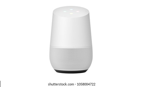 BERLIN,GERMANY - May 24 : Google home Packshot on plain white background, the voice recognition streaming device utilizing Google Assistant from Google on May 24 2017 in BERLIN, GERMANY