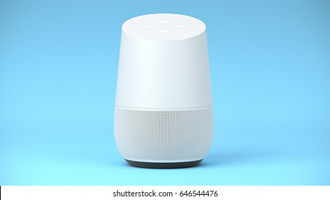 BERLIN,GERMANY - May 24 : Google home Packshot on blue studio background, the voice recognition streaming device utilizing Google Assistant from Google on May 24 2017 in BERLIN, GERMANY