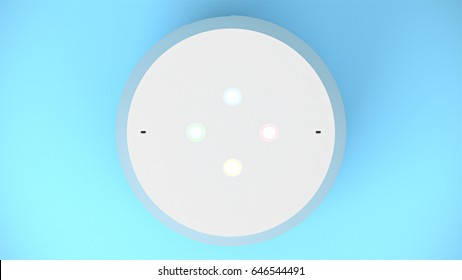 BERLIN,GERMANY - May 24 : Google home Packshot from top on blue studio background, the voice recognition streaming device utilizing Google Assistant from Google on May 24 2017 in BERLIN, GERMANY