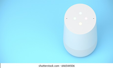 BERLIN,GERMANY - May 24 : Google home packshot on blue studio background room for text, the voice recognition streaming device utilizing Google Assistant from Google on May 24 2017 in BERLIN, GERMANY