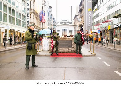 Berlin,Germany- Oct 28, 2016: Checkpoint Charlie - frontier checkpoint on Friedrichstrasse in Berlin on Oct 28, 2016. Germany.