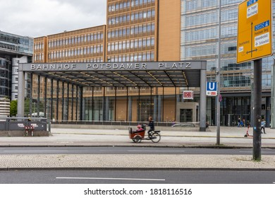 Berlin/Germany, September 05.2020: Potsdamer Platz station with cyclists and pedestrians