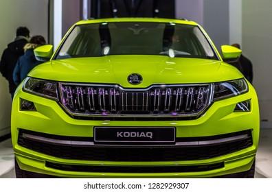 Berlin,Germany,13 January 2018 - The Skoda Kodiaq 4x4 front side in green - neew Skoda desig  VW DRIVE Exhibition - Picture