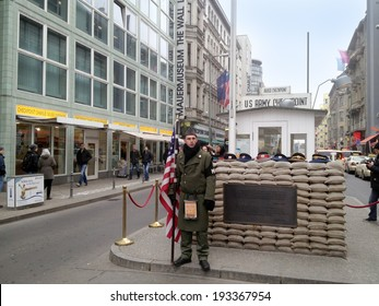 BERLIN,GERMANY-CIRCA NOVEMBER 2012: Checkpoint Charlie NATO was opened a faithful reconstruction, in a short time become a great tourist attraction circa November 2012  in Berlin