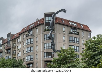 Berlin/Germany-July 24, 2018 Face Shaped street lamp-The statue commemorates Georg Elser, a communist carpenter who attempted to kill Adolf Hitler in 1939.