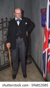 BERLIN,GERMANY-MARCH 2017: Winston Churchill wax figure at Madame Tussauds museum