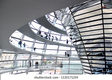 Berlin/Germany-September 30,2016 :  The glass dome of the Reichstag building,a parliament government building with a 360-degree view of Berlin.