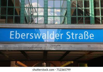 Berlino, B, Germany - August 16, 2017:  Metropolitan Station called Eberswalder Strasse