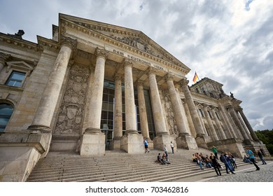 BERLIN-SEPTEMBER 5: The Reichstag or Deutscher Bundestag. The main hall can be seen from inside the dome, and natural light radiates down to the parliament floor. September 5 2016 in Berlin,Germany