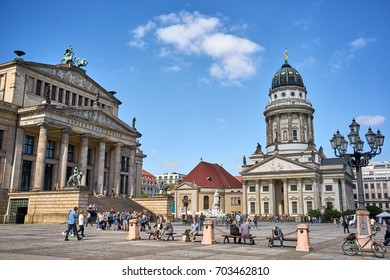 BERLIN-SEPTEMBER 9: French Church or Französischer Dom, at the The Gendarmenmarkt . It is a major tourist attraction in the city of Berlin.September 9 2016 in Berlin,Germany