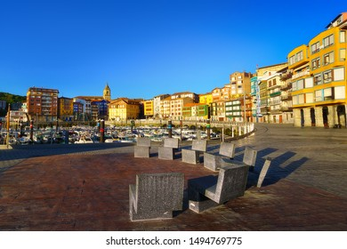 Bermeo port and village with beautiful houses in Basque Country