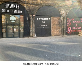 Bermondsey, London - May 2019: Hawkes cider taproom part of the bermondsey beer mile in londons south east
