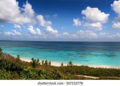 Bermuda Atlantic ocean view from coastline, on a beautiful summer day.