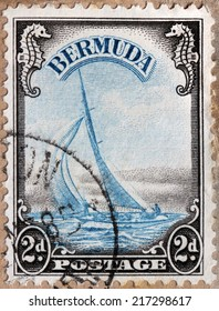 BERMUDA - CIRCA 1936: A stamp printed by BERMUDAS ISLES shows Yacht Lucie (Hippocampus sp.), circa 1936
