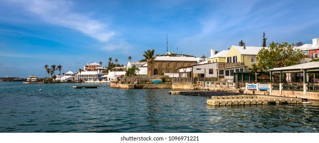 Bermuda - January 15 2017: A beautiful winter morning along the harbour front of historic St George's island, Bermuda