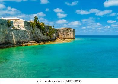 Bermuda King's Wharf wall up against the Ocean