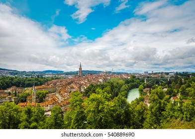 Bern Cityscape. Panoramic View of Old Town City in Switzerland