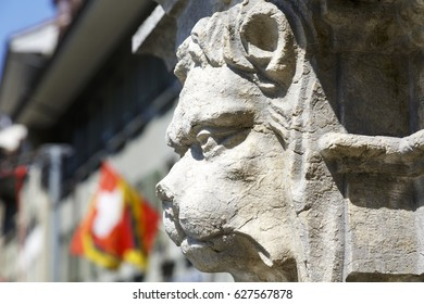 Bern, Switzerland - April 20, 2017: A sculpture depicting an animal face decorates a fountain in the square of the Waisenhausplatz (Orphanage Plaza). This is a detail of Waisenhausplatzbrunnen