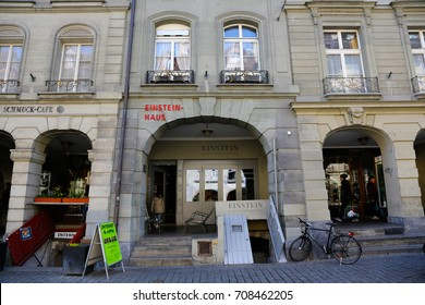 Bern, Switzerland - April 20, 2017: The townhouse in Old Town is now the Albert Einstein Museum. In the apartment of this house the scientist lived in the early twentieth century