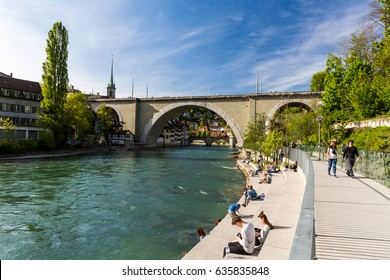 BERN, SWITZERLAND - APRIL 30, 2017: View of the Bear Pit ( Barengraben ) a tourist attraction in the Swiss capital city of Bern on April 30, 2017. Its situated at the eastern edge of Bern.