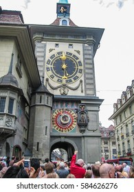 Bern, Switzerland - August 14, 2007: Zytglogge Clock tower with tourists taking pictures