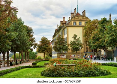 Bern, Switzerland - August 31, 2016: Park at Munsterplatform in old city center of Bern, Switzerland. People on the background